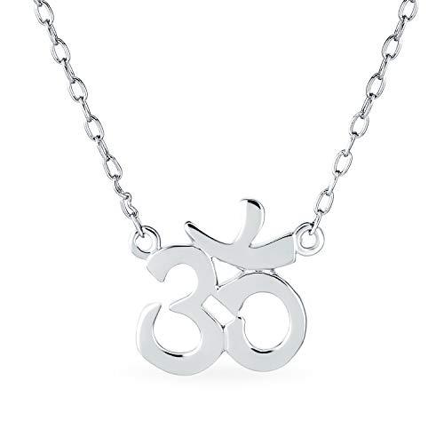 Símbolo Sánscrito Yoga Armonía Espiritual Om Aum Ohm Estación Colgante Collar De Plata Esterlina 925 Mujer 16 Pulg.