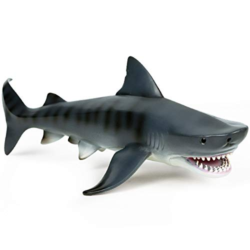 EOIVSH 11 Inch Large Tiger Shark Toy Plastic Ocean Animal Figurine Realistic Sea Creature Figure Educational Toy Great for Bath Pool Toy Cake Topper Party Favor