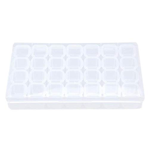 28 slots plastic opbergdoos strass sieraden nail art vitrine make-up organisator kleine dingen opslag en organizador doos, helder