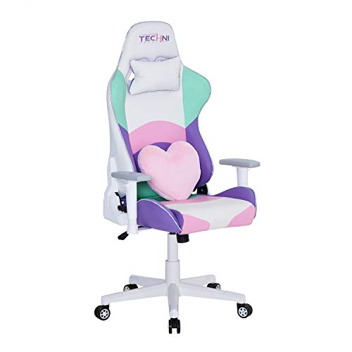 Techni Sport PC Gaming Chair with Foam Seat and Padded Arms, Reclining Chair with Height and Tilt Adjustment, Kawaii