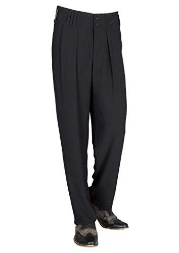HK Mandel Herren Bundfaltenhose im 50er 60er Jahre Herren Retro Vintage Stil in Schwarz, Model Boogie Größe 60