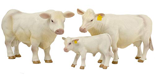 Little Buster Toys Charolais Family Set - Charolais Cow  Bull  and Calf  1/16th Scale