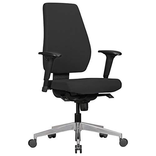 Amstyle Design Bürostuhl Darius, mit Stoff-Bezug, Design Schreibtisch-Stuhl mit Synchromechanik und Armlehnen, Drehstuhl Drehsessel ergonomisch 120 kg, schwarz