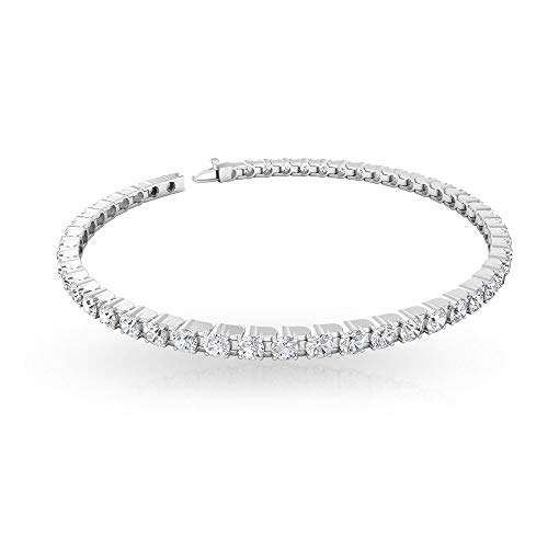 Natural 5.66 CT IGI Certified Diamond Tennis Bracelet, Stack Bridesmaid Charm Bracelet, Bridal Wedding Statement Bracelets, Mothers Daughter Bracelets, 14K White Gold