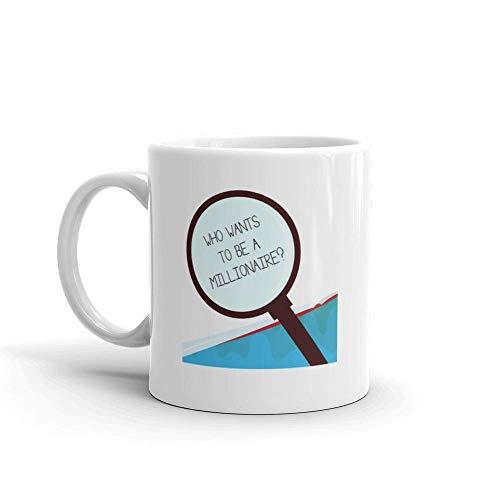 Taza de café divertida Dozili con texto de escritura a mano que quiere ser un millonario pregunta que significa juego de melodía ganado dinero, taza de café de cerámica, 11 onzas, color blanco