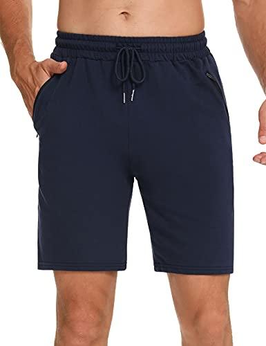 Wayleb Herren Sport Shorts Joggingshorts - Bequeme Kurz Hose mit Taschen und Kordelzug Loose Fit Laufshorts Fitness Outdoor Sommer Baumwolle