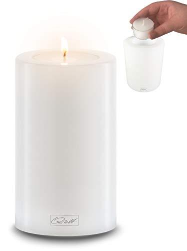Qult Farluce Trend - ∅ 6cm • Teelichthalter in Kerzenform • Dauerkerze • Kunststoffkerze in Kerzenoptik • Teelichtkerze mit Teelichteinsatz • inkl. Teelicht (Höhe 12cm)