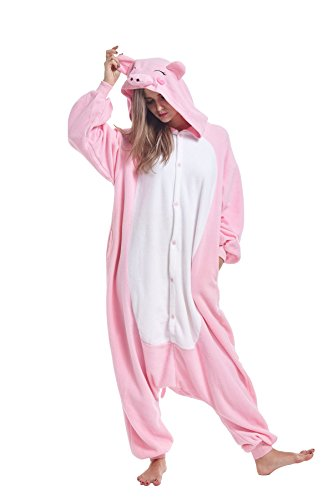 Zinuods Men Women Pajamas for Adults Pink Pig Onesies Animal Cosplay Costumes M