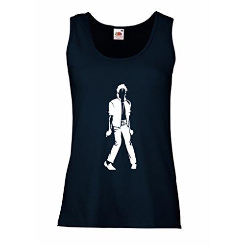 lepni.me Camisetas sin Mangas para Mujer Me Encanta M J - Rey del Pop, 80s, 90s Músicamente Camisa, Ropa de Fiesta (X-Large Azul Blanco)