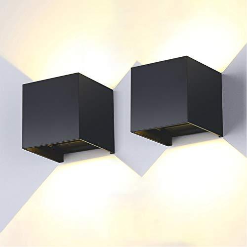 2 Stücke LED Wandleuchte Innen/Außen 12W 3000K IP65 Wasserdichte Wandlampe Auf und ab Einstellbarer Lichtstrahl Moderne hohe Helligkeit Außenwandleuchte 85-240V