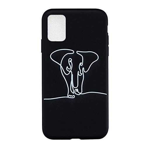 Everainy Funda Compatible para Xiaomi Redmi 9T Silicona Carcasa Creativo Dibujos Motivo Suave Goma Bumper Delgado Ultrafina Negro Tapa Antigolpes Case Cover (Elefante)