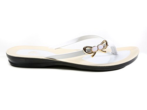 LONGCLASS Flipflops weiß bequeme Sandalen Damen PRINCESSA 38/39 Strand damen zehentrenner sandalen Frauen Schuhe Sommer Flip Flop Damen elegant Flip Flops elegant Damen badeschuhe damen flip flop weiß