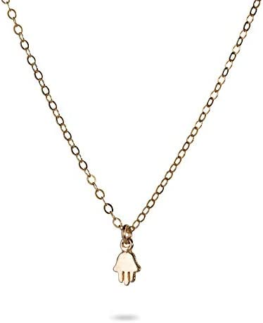 Tiny Hamsa Hand Charm Necklace for Women Gold Vermeil Hand of Fatima Evil Eye Charm 16 Inch product image