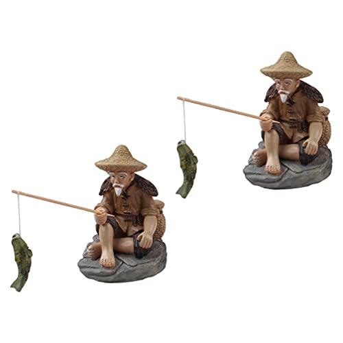 Cabilock 2Pcs Miniature Fisherman Figurine Chinese Statue Fairy Garden Accessories Mini Pond Ornament Micro Landscape Decoration Fish Tank Bonsai Garden Decor