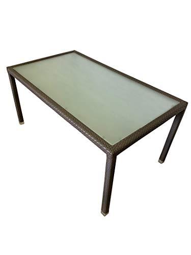 SEDEXx Focus Gartentisch 160x90 Polyrattan Balkontisch mit Glasplatte Tisch Esstisch braun