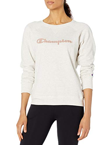 Champion Women's Crewneck, Oatmeal Heather, Large