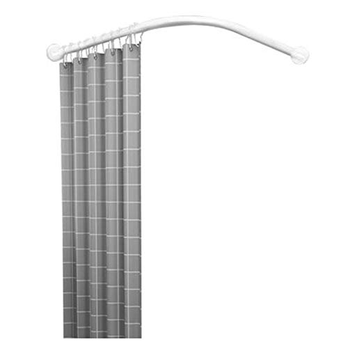 QYY Shower Curtain Rail Curved, Corner Extendable Shower Curtain Rod Pole Wall Mounted No Drill/Drill Stainless Steel for Bathtub Cloakrooms with Shower Curtain, White70 to 95×70 to 95 cm