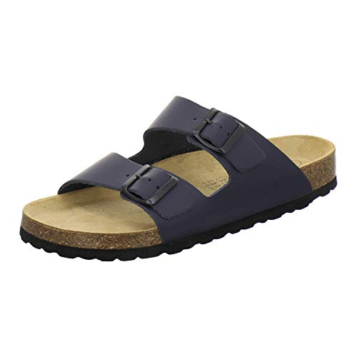 AFS-Schuhe 3100 Bequeme Pantoletten für Herren Leder, Hausschuhe Arbeitsschuhe, Made in Germany (46 EU, Blau/Navy)