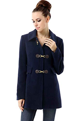 BGSD Women's Rory Wool Blend Toggle Coat, Navy, Plus Size 1X