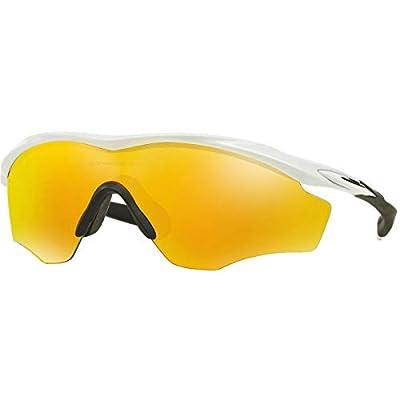 Oakley Men's OO9343 M2 Frame XL Shield Sunglasses, Polished White/Fire Iridium, 45 mm