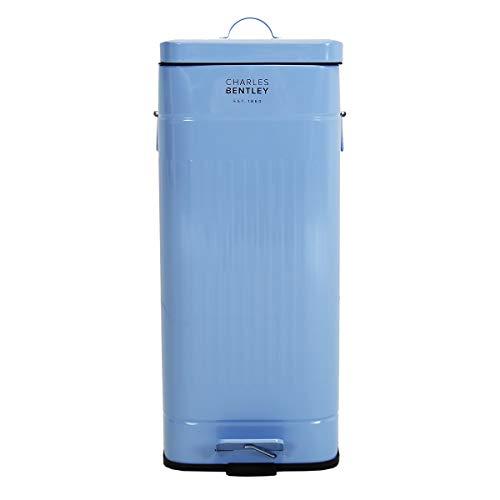Bentley - Cubo de basura de pedal para cocina - Cuadrado - 30 L - Azul