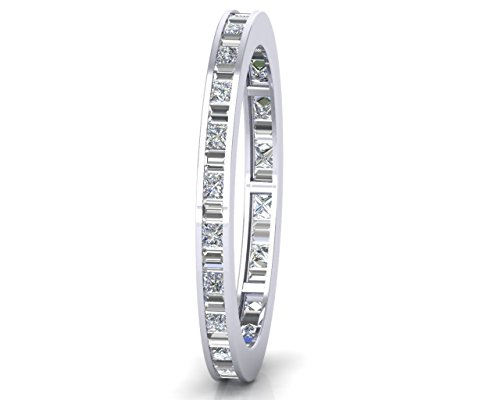 0.50ct Channel Set Baguette and Princess Cut Diamond Full Eternity Wedding Ring Available Gold & Platinum (18ct White Gold, L)