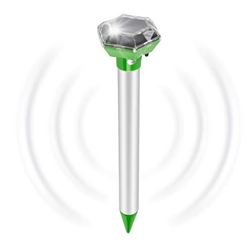 Gardigo contre les taupes, distributeur fourmis, solaire tête de diamant améliore les performances, avec barre de métal, 700 mètres carrés, avec interrupteur, facile à installer