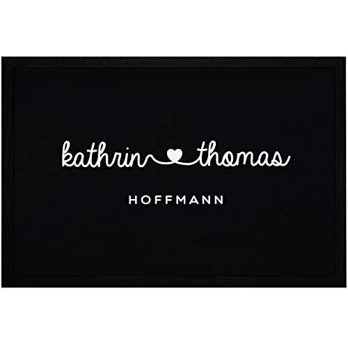 SpecialMe® Fußmatte mit Vornamen Familienname Herz Nachname personalisierbar rutschfest & waschbar weiß 60x40cm