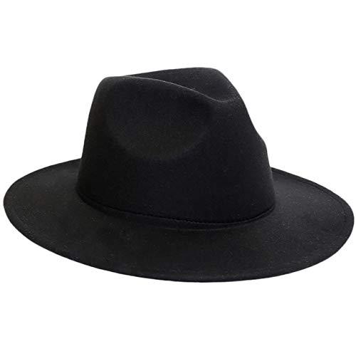 Hombres Mujeres Sombrero Fedora Invierno Mujeres Sombreros de Fieltro Hombres Moda Negro Top Jazz Sombrero Fedoras Chapeau Sombrero Mujer-Black