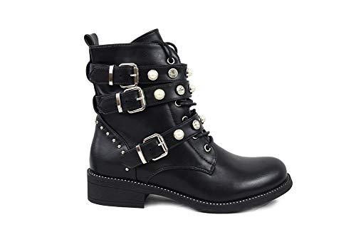 irisaa Damen Stiefeletten Stiefel schwarz mit Strass oder Perlen Schnür Biker Boots, Größe Normal:36, Winterschuhe Farbe 2019:Schwarz
