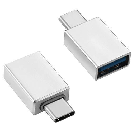 2 adaptadores USB-C a USB 3.1 (hembra), adaptador USB C, adaptador OTG C – USB tipo C aluminio (plata)