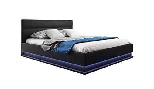 muebles bonitos Cama canapé abatible de Matrimonio Moderna Nitas con somier de láminas para colchón de 150x190cm Negro diseño Italiano con LED Blanco Azulado