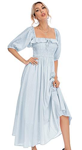 R.Vivimos Women Summer Half Sleeve Cotton Ruffled Vintage Elegant Backless A Line Flowy Long Dresses (Large, SkyBlue#1)
