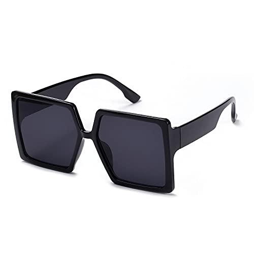 Gafas De Sol Gafas De Sol Clásicas Cuadradas De Gran Tamaño para Mujer Uv400 Retro Vintage Gafas De Sol Hombres Negro