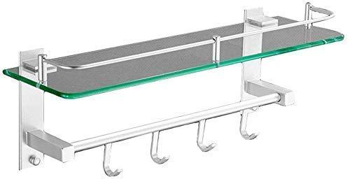 ADSE Estante de baño de Vidrio, sin Perforaciones Toallero de Pared Estante de Almacenamiento de baño Estante de Ducha Especificaciones Opcionales Vidrio (tamaño: 500 mm)