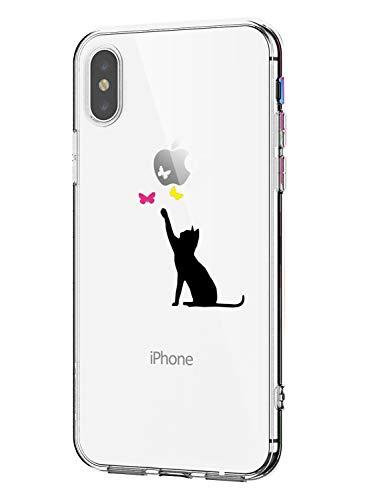 Oihxse Compatibile per Cover iPhone X/XS/iPhone 10 Trasparente Silicone Slim Custodia Antiurto No-Slip Anti-Graffio Morbido Design Sottile Resistente in Silicone Custodia Protettiva (Gatto Nero)