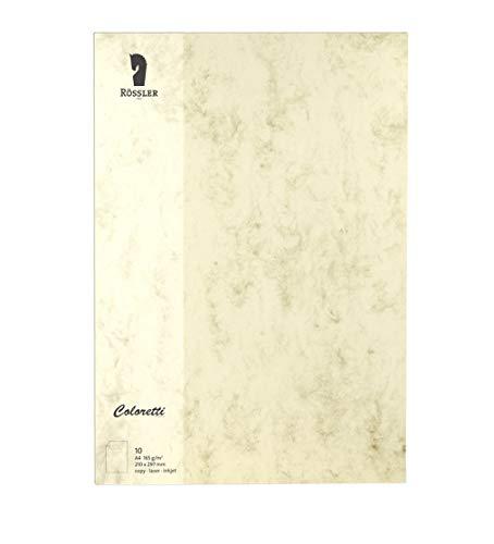 Rössler 220726506 Coloretti Briefpapier, 165g/m², DIN A4, 10 Blatt, chamois marmora