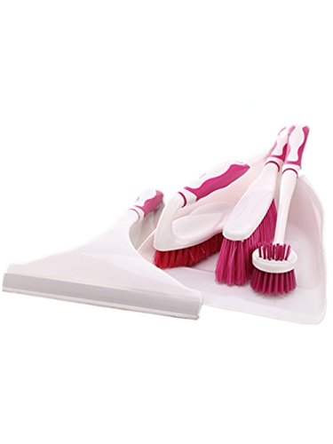 Scrub Brush Set 5 Piece Household Cleaning Supplies:Pertique Toilet Brush,Hand-Broom?Grip Duster ? with Dustpan and Window Squeegee,Brush and Dustpan set,Tile Scrub Brush, Grips Grout Brush