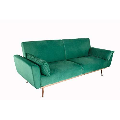 Invicta Interior Retro Schlafsofa BELLEZZA 208cm smaragdgrün Samt 3-Sitzer Couch inkl. Kissen Sofa Schlafcouch Couch
