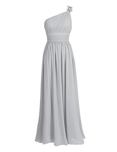 TiaoBug Elegant Damen Kleider Festliches Party Abendkleid Cocktailkleid Faltenrock Langes Hochzeit Kleid Brautjungfernkleid 34-46 Grau 44
