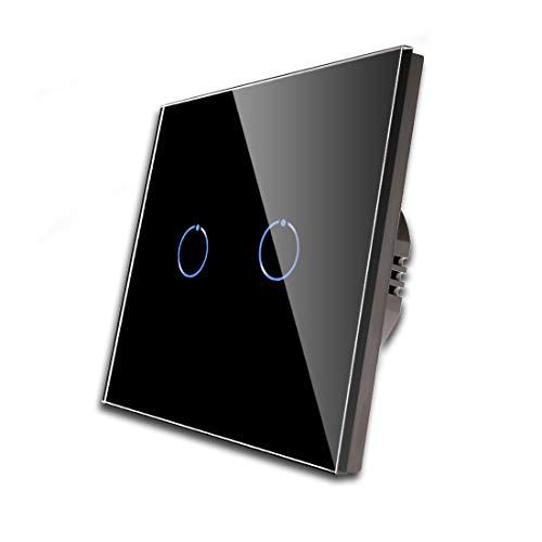 CNBINGO Doble regulador de intensidad para luces LED, interruptor táctil negro, con panel táctil de cristal y LED de estado, no se necesita conductor neutro, interruptor de 2 posiciones de 1 pin.
