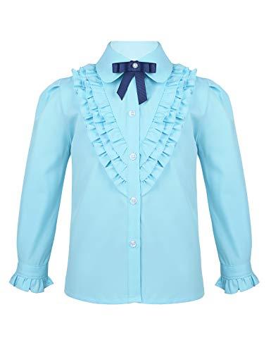 inlzdz Mädchen Schuluniformen Oxford Bluse Shirt Rüschen Langarmshirts mit Brosche Kinder Trachtenbluse Dirndl Bluse Tops Gr.104-164 Himmelblau 122-128