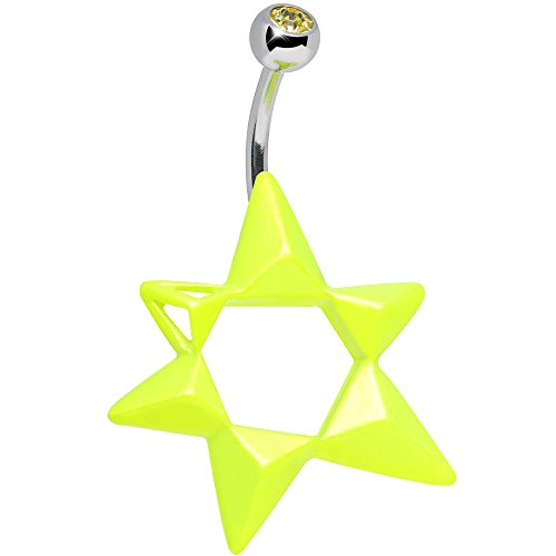 Body Candy Yellow Neon Modern Star of David Belly Ring
