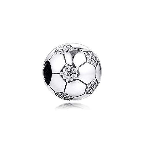 QIAMUCJC Plata de Ley 925CKK Fit Pandora Pulsera Cuentas de Metal Brillantes Abalorios Deportivos de fútbol Mujeres DIY joyería Haciendo baratijas Enteras