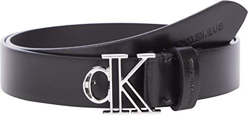 Calvin Klein Jeans Outline Mono Plaque Belt 30MM Cintura, Nero, 90 cm Donna