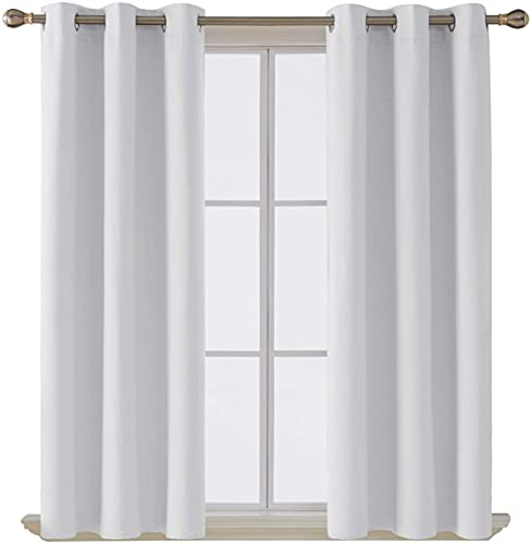 Deconovo Room Darkening Thermal Insulated Grommet Blackout Window Curtain Panel for Bedroom Greyish Platinum White 42x84 Inch 1 Panel