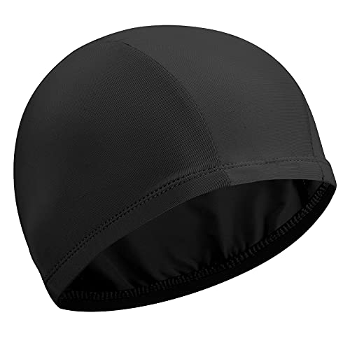 Gorro Elástico de Baño Gorro de Natación Gorro Antideslizante de Piscina Sombrero Flexible de Natación de Nailon para Mujeres Hombres Adultos Jóvenes Baño Natación (Negro)
