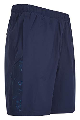 Mountain Warehouse Hurdle Pantalones Cortos para Correr para Hombre - Ligeros, rápida absorción, Cintura elástica, Bolsillos de Malla - para Ciclismo, Gimnasio Azul L