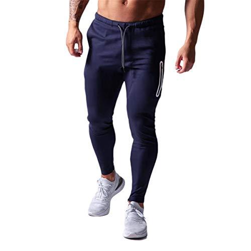 Pantalones Deportivos para Hombres Fitness Casual para Trotar Gimnasio Entrenamiento con Bolsillos Cordón Cremallera en el Tobillo (Azul Oscuro, L)
