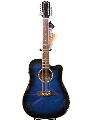 Oscar Schmidt by Washburn 12 String Acoustic/Electric Guitar, OD312CETTBL, Trans Blue